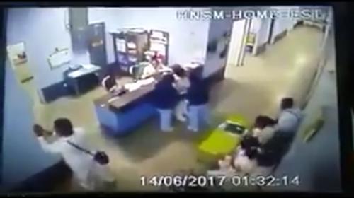 Una cámara grabó el momento del temblor en el Hospital de San Marcos
