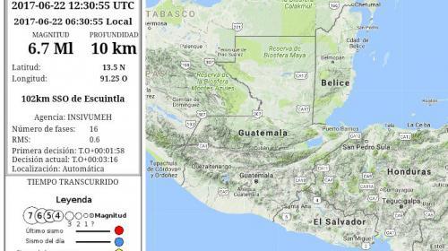 Un fuerte sismo de 6.7 grados sacudió a Guatemala