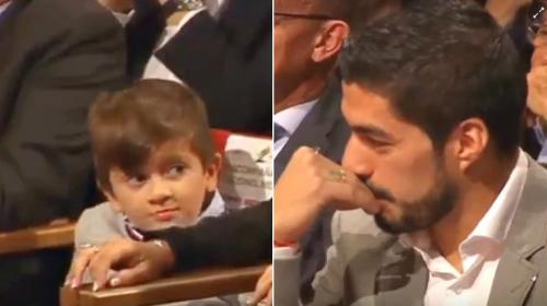 El gracioso duelo de muecas entre Luis Suárez y el hijo de Messi