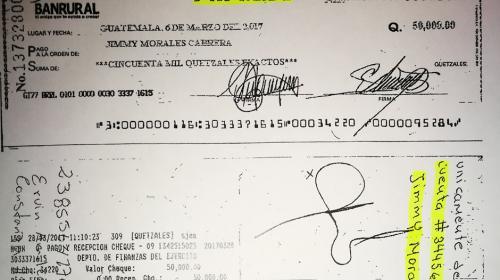 """Ejército confirma pago de """"bono"""" de Q50 mil a Jimmy"""