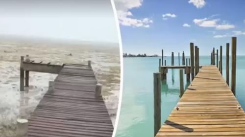 """El video del antes y el después del """"mar que se llevó"""" el huracán Irma"""