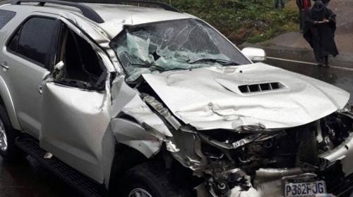 Diputado de la UNE sufre grave accidente en Sololá