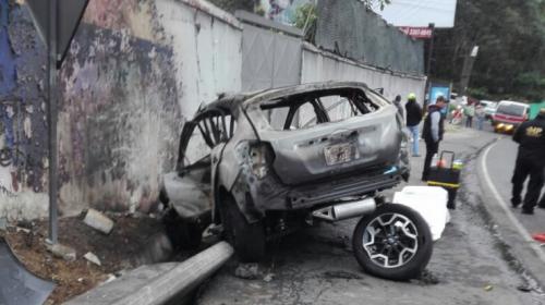 Así quedó el vehículo del fatal accidente en carretera a El Salvador