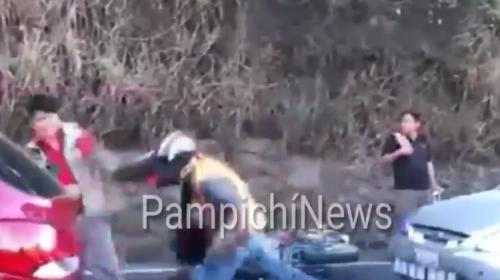 Puñetazo limpio en plena Villa Lobos entre motorista y conductor
