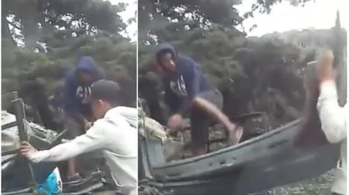 Video Denuncia: Hombres tiran chatarra en plena Interamericana