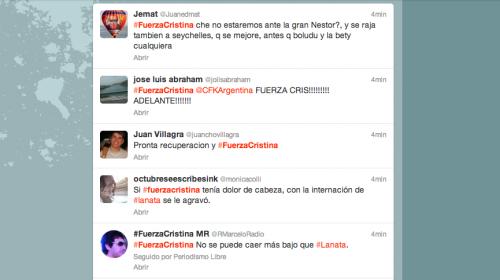 Simpatizantes se solidarizan con la presidenta Cristina Fernández