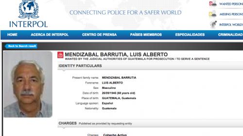 Luis Mendizábal aparece en listado de Interpol con orden de captura