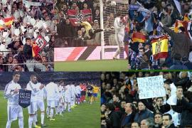 En el Santiago Bernabéu se mostró una bandera con simbología Nazi y por eso será suspendida una parte del graderío