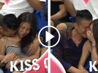 kiss cam filma a pareja en bochornos momento foto