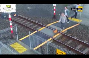 Woman Nearly Hit by Train - Auckland, New Zealand